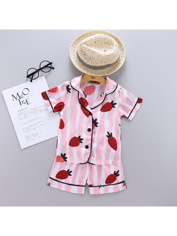 【12M-5Y】Girls Cartoon Strawberry Print Short-sleeved Suit