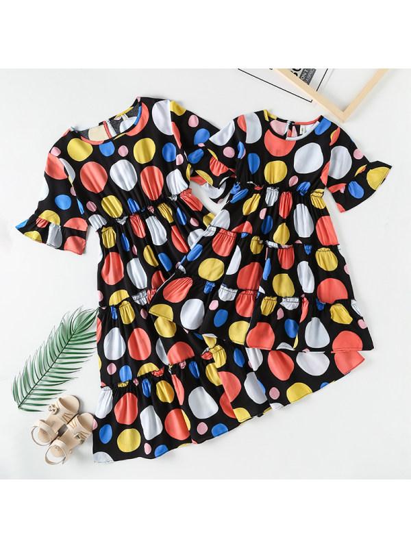 Casual Polka Dot Print Mom Girl Matching Dress