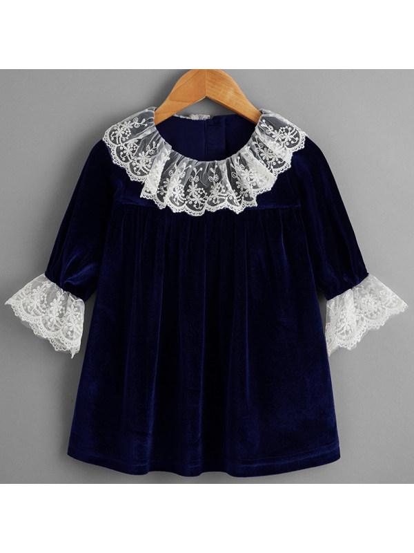 【6M-2.5Y】Baby Girl Sweet Navy Blue Velvet Long-sleeved Dress