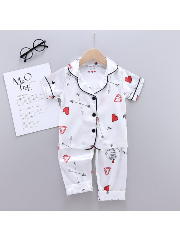 【18M-7Y】Girls Cartoon Print Short-sleeved Top With Trousers Suit