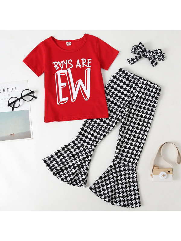 【18M-7Y】Girls Sweet Letter T-shirt And Houndstooth Pants Set