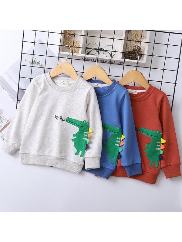【18M-7Y】Boys' Crocodile Patch Embroidered Sweatshirt