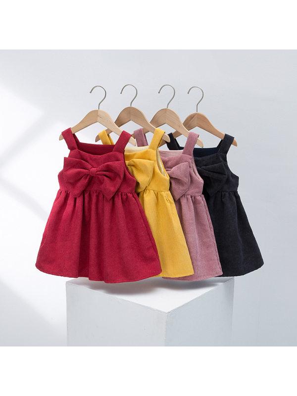 【2Y-7Y】Girls' Corduroy Bow Vest Dress