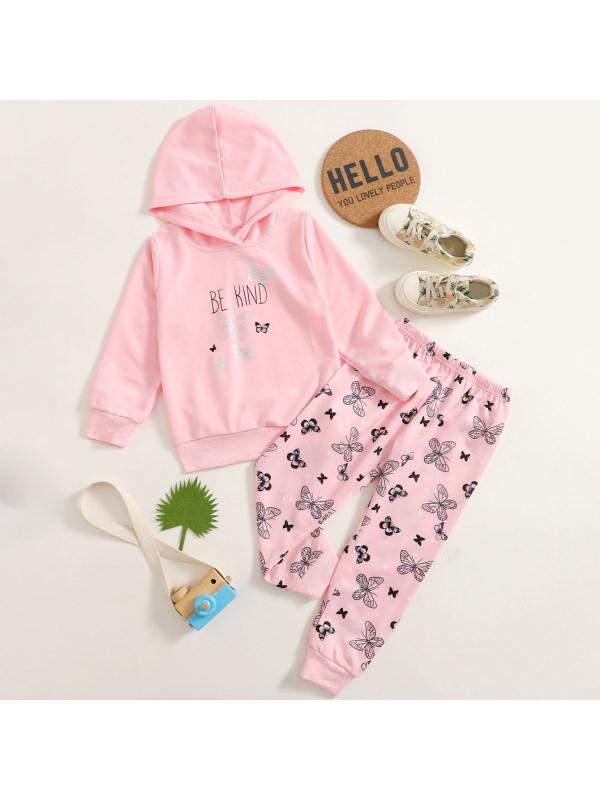 【18M-7Y】Girls Sweet Pink Butterfly Pattern Hooded Sweatshirt Pants Set
