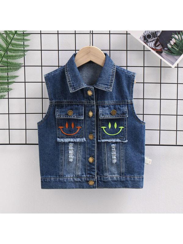 【18M-7Y】Boys Smiley Embroidered Sleeveless Denim Jacket