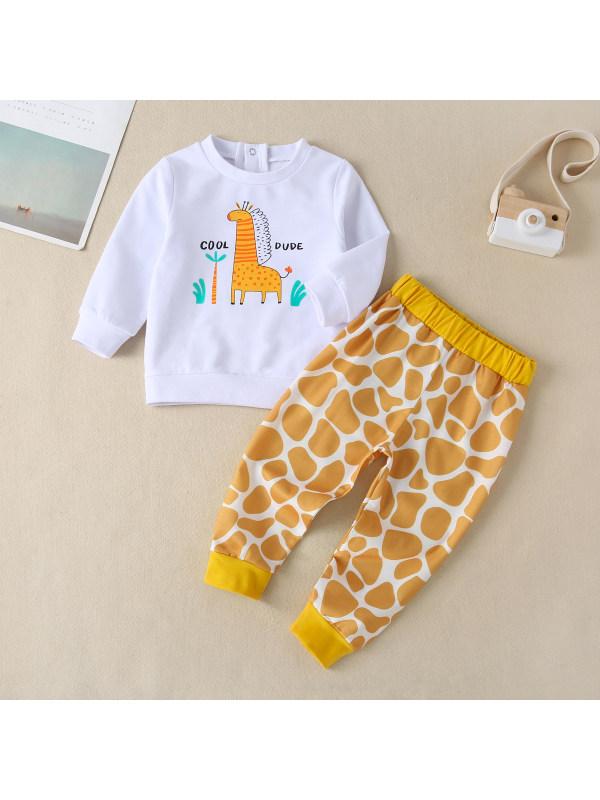 【6M-3Y】Baby Long-sleeved Giraffe Print Suit