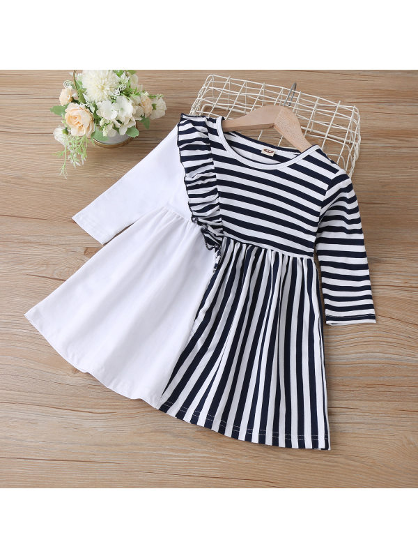 【18M-7Y】Girls Long-sleeved Black And White Stitching Dress