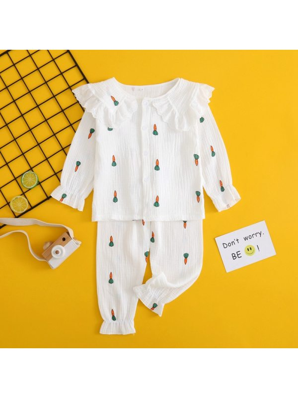 【2Y-13Y】Girls Double Layer Cotton Cartoon Home Suit