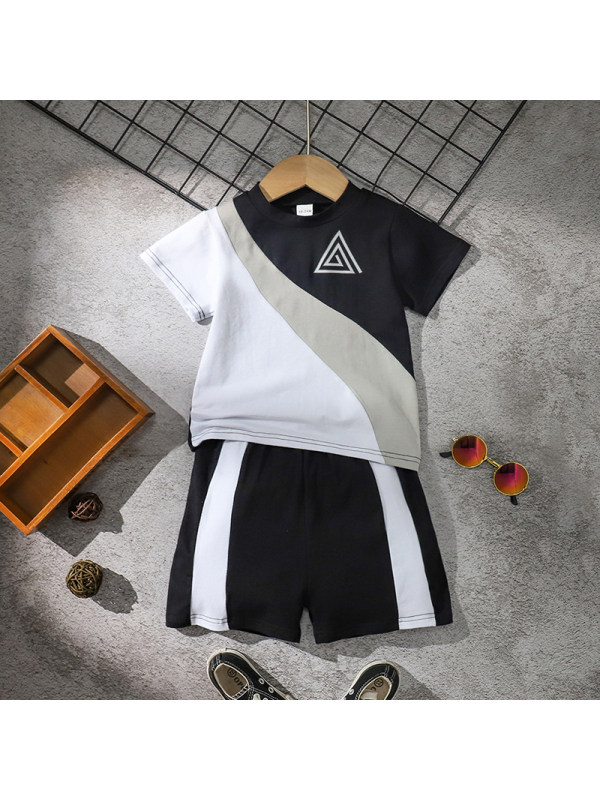 【18M-7Y】Boys Short-sleeved Black And White Casual Suit