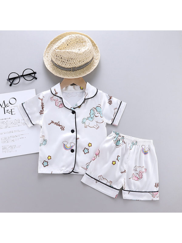 【12M-5Y】Girls Unicorn Cartoon Print Short Sleeve Top With Shorts Set