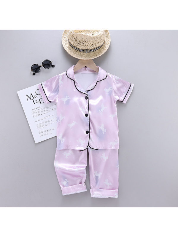 【18M-7Y】Girls Unicorn Cartoon Print Short-sleeved Top With Trousers Suit