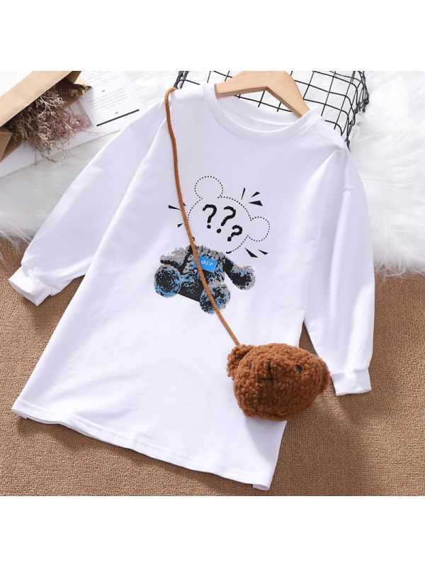 【3Y-13Y】Girl Round Neck Long Sleeve Printed Sweatshirt Dress