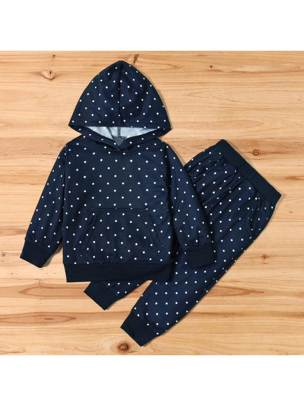 【18M-7Y】Girls Casual Navy Blue Polka Dot Hooded Sweatshirt Pants Set