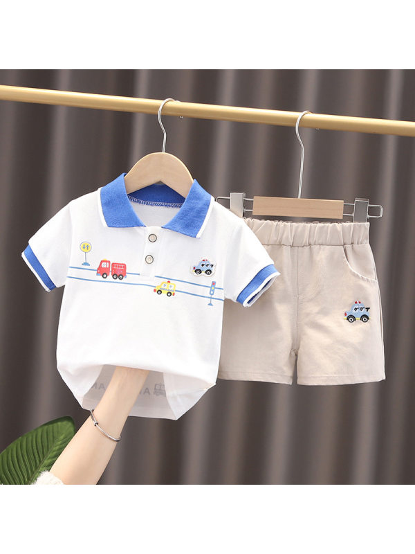 【12M-5Y】Boys Cartoon Print Short-sleeved Shirt And Shorts Two-piece Suit