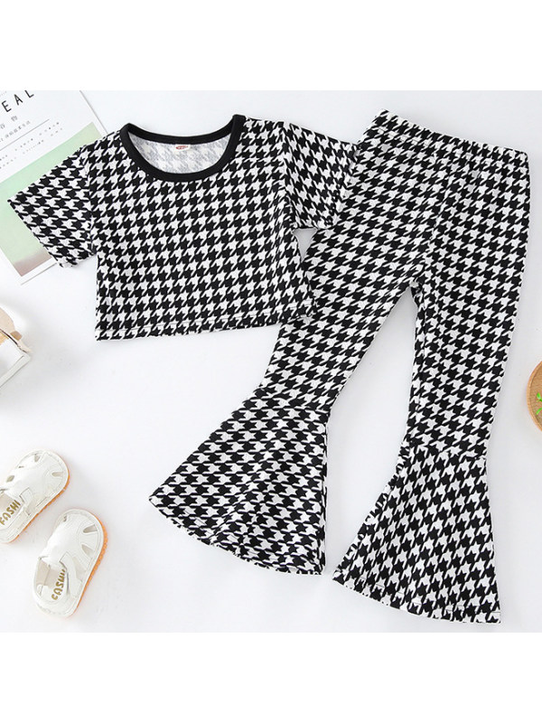 【18M-7Y】Girls Sweet Black And White Houndstooth Suit