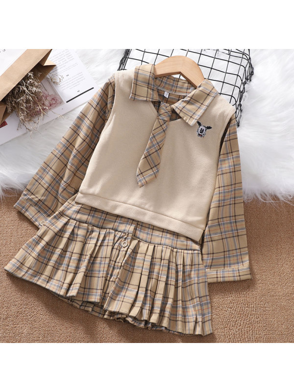 【3Y-13Y】Girls' College Style Vest Check Shirt Dress Suit