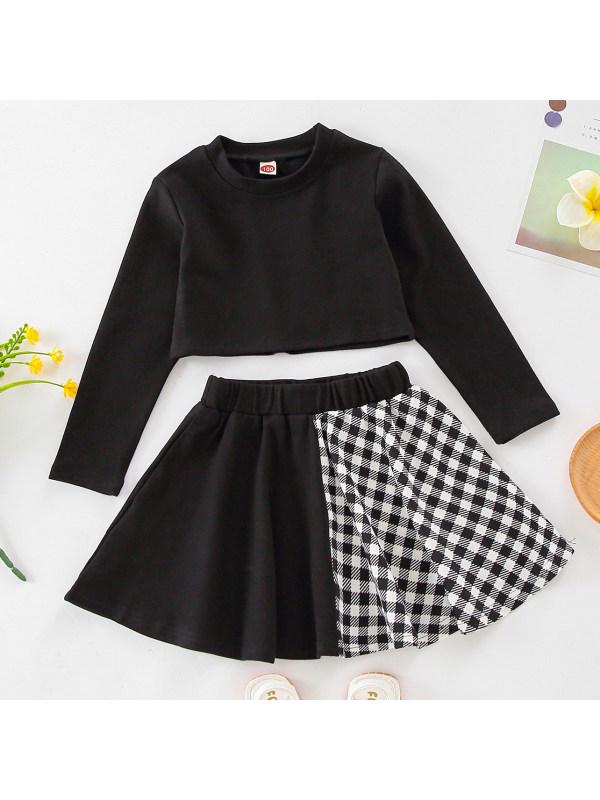 【18M-7Y】Girls Casual Black Sweatshirt And Plaid Skirt Set