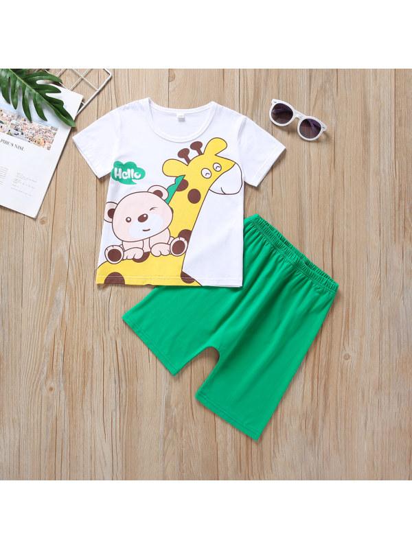【6M-3Y】Baby Boy Cartoon Giraffe Casual Short-sleeved Suit