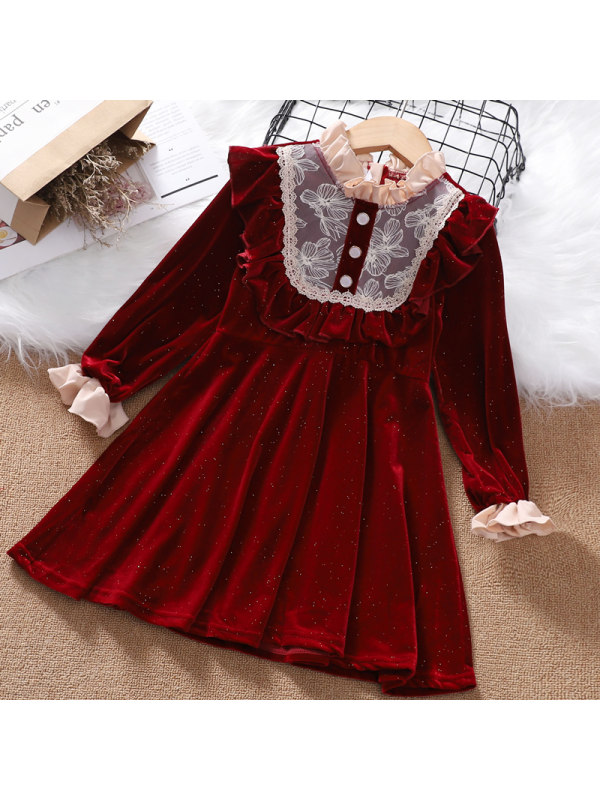【3Y-13Y】Girls Stand-up Collar Lace Long-sleeved Velvet Dress