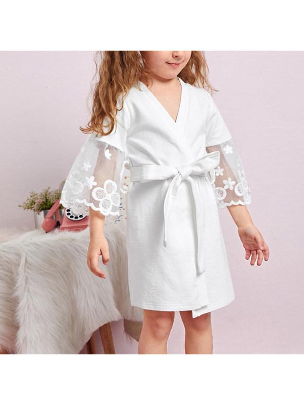 【18M-7Y】Girls Lace Stitching Pajamas