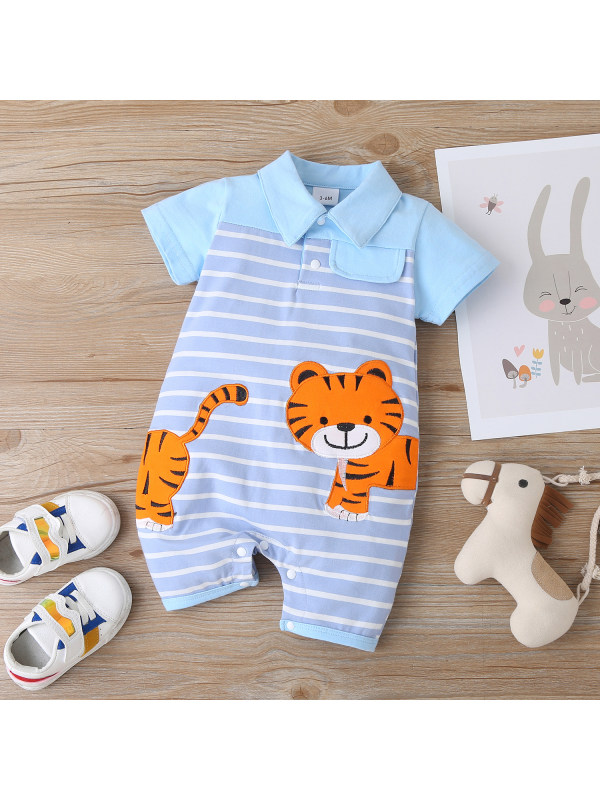 【6M-24M】Baby Tiger Embroidered Striped Romper