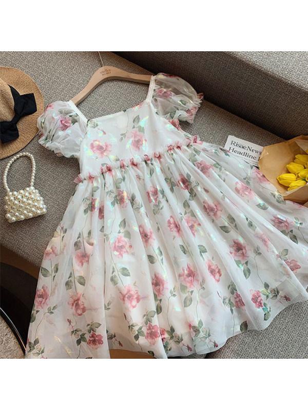 【3Y-13Y】Girls Sweet Square Neck Puff Sleeve Flower Dress