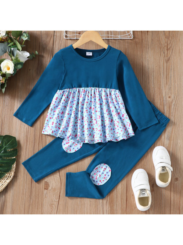 【18M-7Y】Girls Stitching Floral Long-sleeved Top And Trousers Two-piece Suit