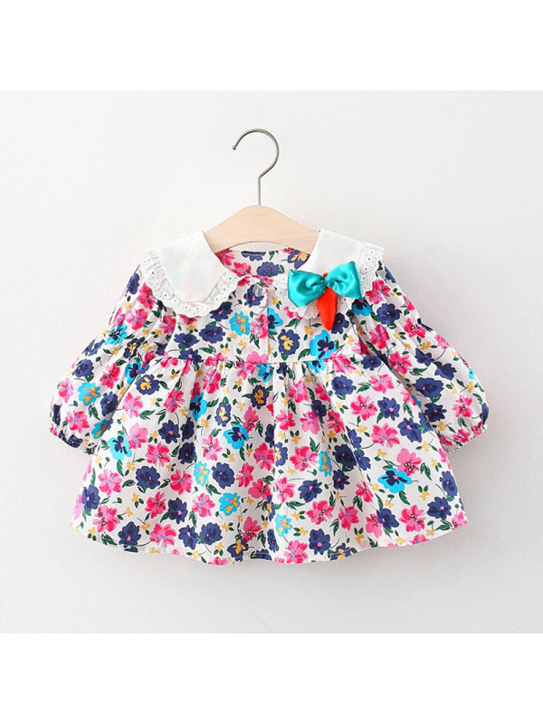 【6M-3Y】Girls' Long Sleeve Floral Dress