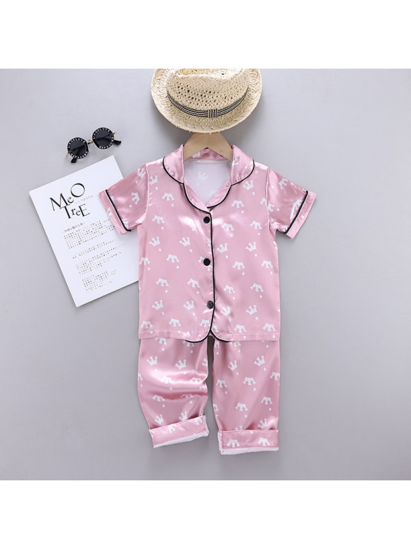 【18M-7Y】Girls Cartoon Print Short-sleeved Top And Trousers Home Suit