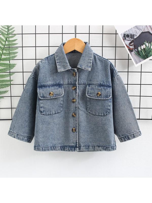 【18M-7Y】Boys Cartoon Print Casual Denim Jacket
