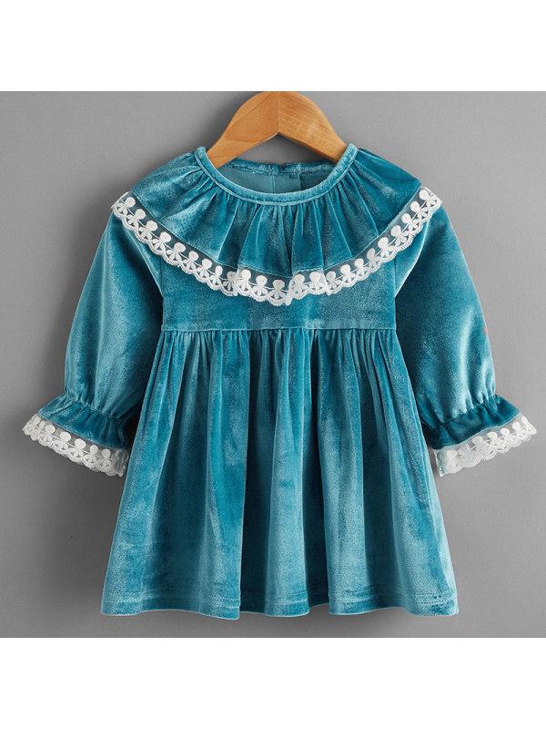 【6M-2.5Y】Baby Girl Sweet Blue Velvet Long Sleeve Dress