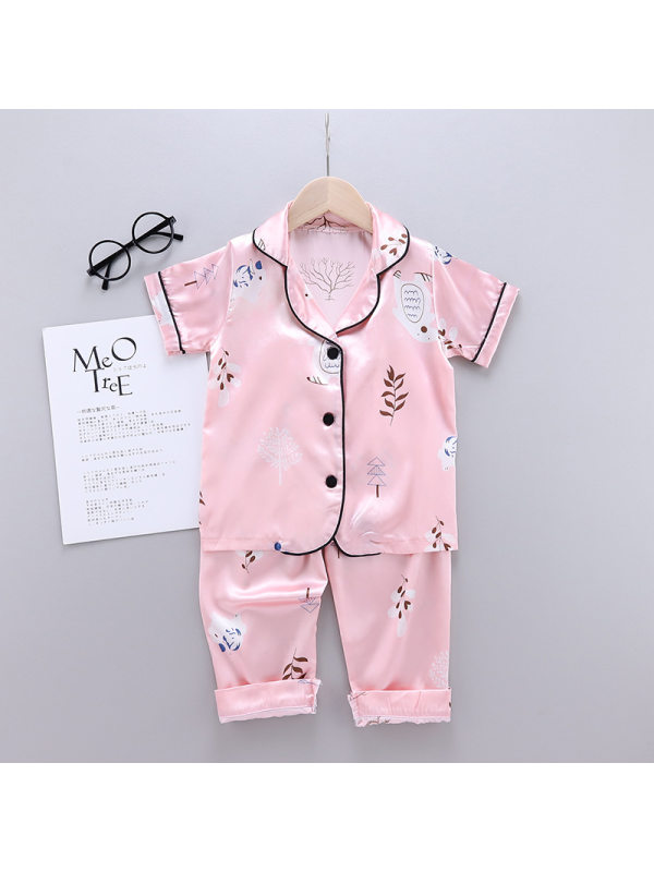【18M-7Y】Girls Cartoon Print Short-sleeved Top With Shorts Suit