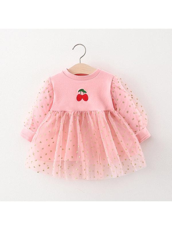 【6M-4Y】Girl's Long-sleeved Sweet Mesh Princess Dress