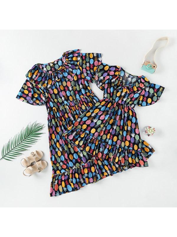 Short Sleeve Lapel Fruit Print Mom Girl Matching Dress