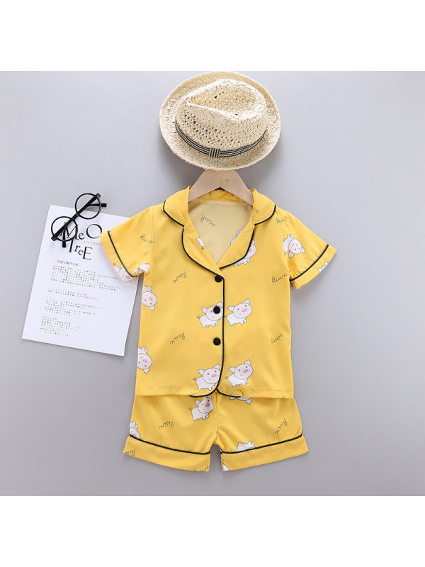 【12M-5Y】Girls Cartoon Print Short-sleeved Top And Shorts Home Suit