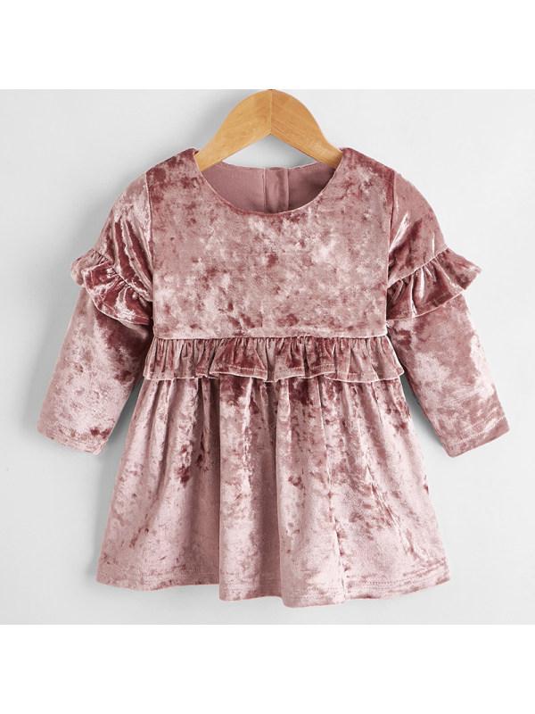 【6M-2.5Y】Baby Girl Sweet Pink Velvet Long Sleeve Dress