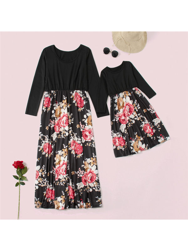 Round Neck Long Sleeve Floral Print Mom Girl Matching Dress