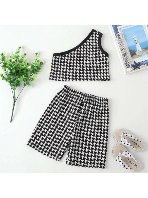 【18M-7Y】Girls Sweet Houndstooth One Shoulder Top And Shorts Set