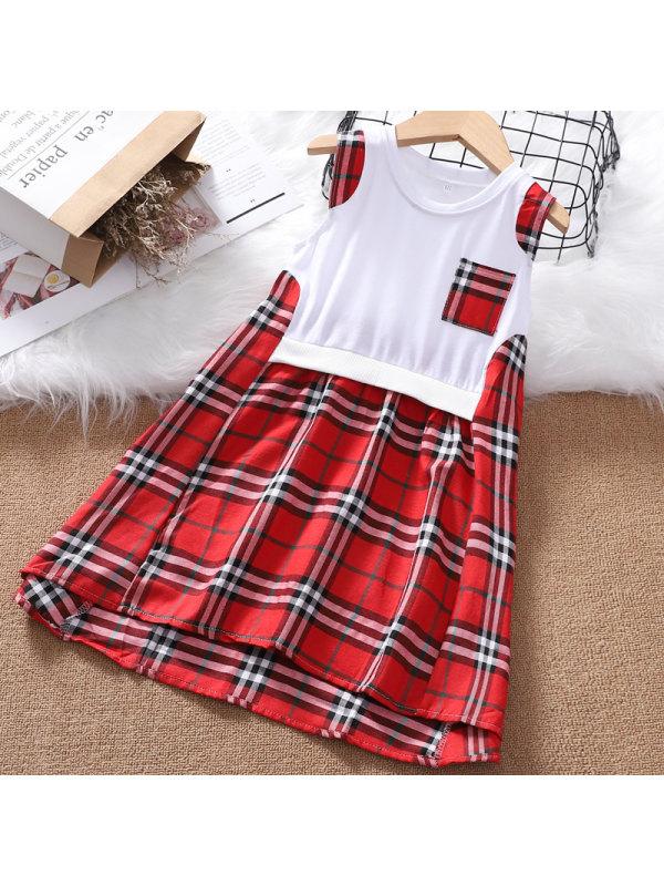 【3Y-13Y】Girls' Round Neck Stitching Plaid Sleeveless Dress