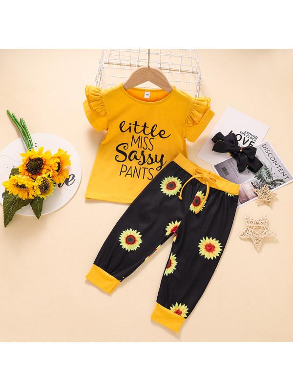 【2Y-7Y】Girls' Letter Print Plus Black Sunflower Pants Casual Suit
