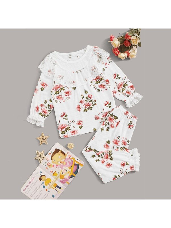 【18M-7Y】Girls Lace Floral Long-sleeved Plus Trousers Two-piece Suit