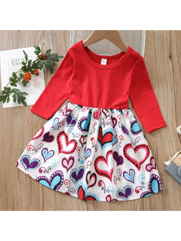 【12M-4Y】Sweet Heart Print Round Neck Long Sleeve Red Dress