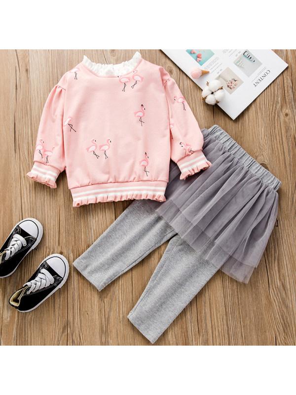 【18M-7Y】Girl Sweet Pink Flamingo Pattern Sweatshirt Hakama Set