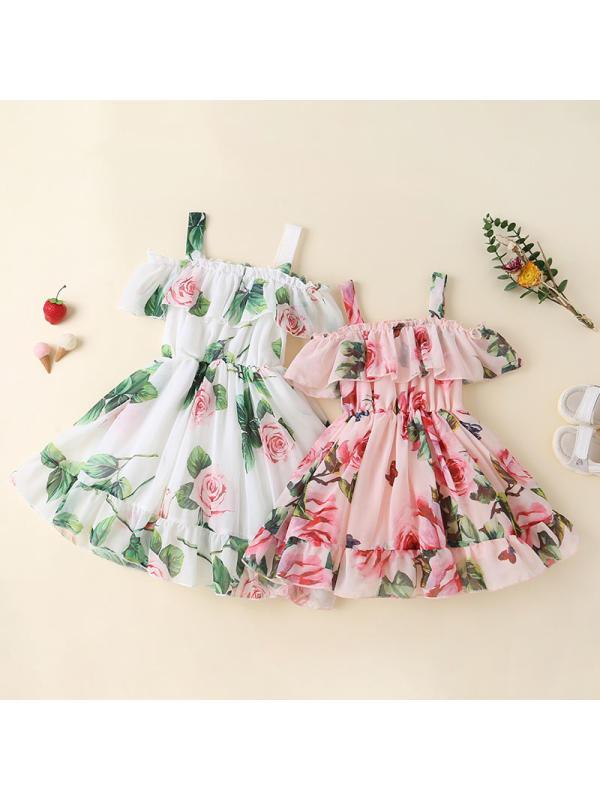 【12M-5Y】Girls Floral Print Chiffon Sling Dress