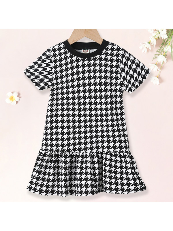 【18M-7Y】Girls Sweet Houndstooth Short Sleeved Ruffle Dress