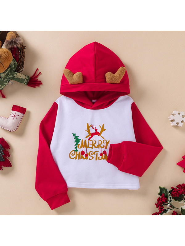 【3Y-11Y】Girls Red And White Stitching Hooded Letter Printed Sweatershirt