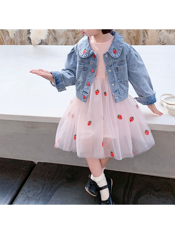 【18M-7Y】Girls' Strawberry Embroidery Lapel Long-sleeved Jacket