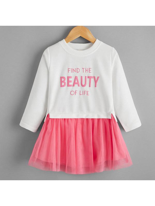 【18M-7Y】Girls Sweet Letters Pattern Long-sleeved Mesh Dress