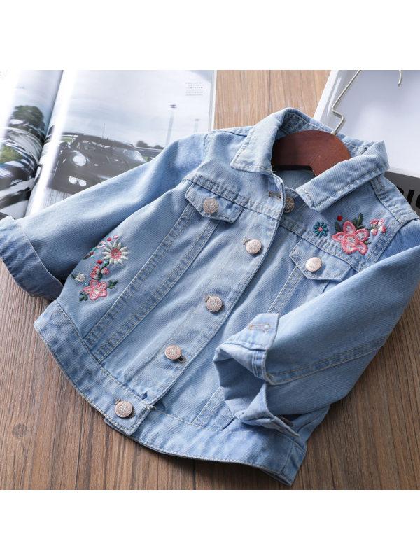 【18M-7Y】Girls Casual Loose Back Embroidered Denim Jacket