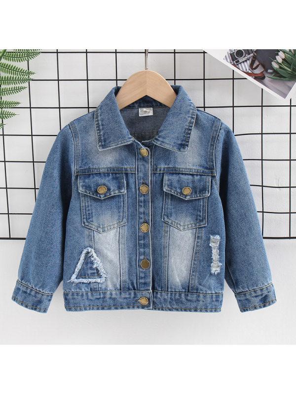 【18M-7Y】Boys Casual Patch Denim Jacket